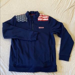 Vineyard vines navy whale flag shep shirt XL/18